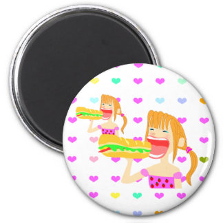big eater girl circle magnet