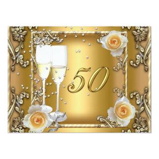 Big Elegant Gold 50th Wedding Anniversary Party Card