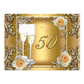 Big Elegant Gold 50th Wedding Anniversary Party Personalized Invite