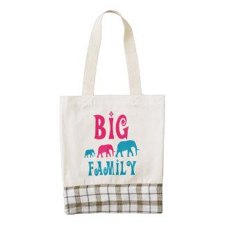 Big elephant family zazzle HEART tote bag