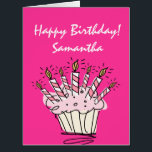 """Big extra large Birthday card for women with name<br><div class=""""desc"""">Big extra large Birthday card for women,  personalized with name. Sweet cupcake Birthday card with burning candle lights. Personalizable wishes and girly candy pink background color. Giant XL greeting card with cup cake design.</div>"""