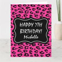 Big extra large pink leopard print Birthday card
