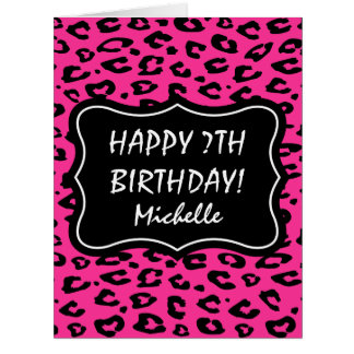 Big extra large pink leopard print Birthday card