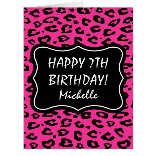 Big extra large pink leopard print Birthday card – Leopard Print Birthday Cards