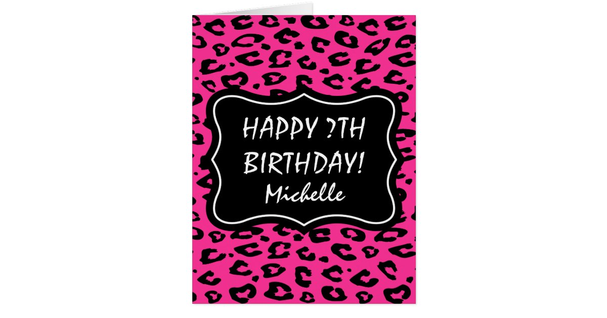 Big extra large pink leopard print Birthday card – Leopard Print Birthday Card