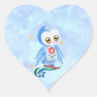 Big Eye Blue Owl Heart Sticker