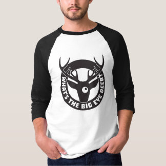 Big Eye Deer Black 3/4 Sleeve Raglan T-Shirt