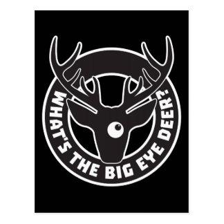 Big Eye Deer Black Postcard