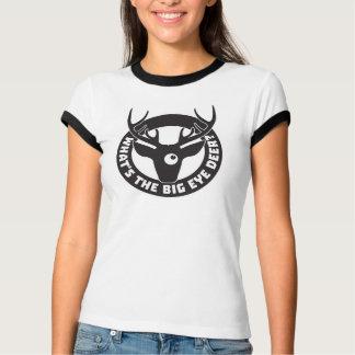 Big Eye Deer Black Ringer T-Shirt