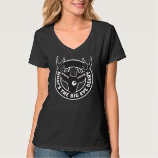 Big Eye Deer Black V-Neck T-Shirt