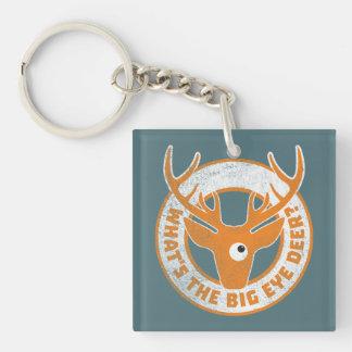 Big Eye Deer Worn Orange Keychain