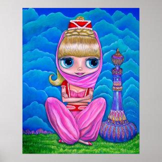 Big Eye Genie Doll Belly Dancer with Magic Bottle Poster