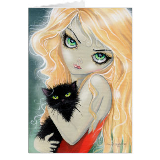 Big Eye Girl with Black Cat Card