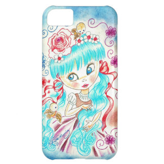Big Eye Girl With Blue Hair and Birds Cover For iPhone 5C