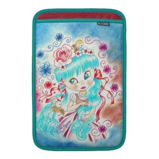 Big Eye Girl With Blue Hair and Birds MacBook Air Sleeve
