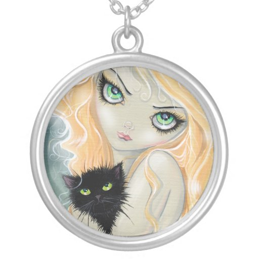 Big Eye Girl with Cat Necklace