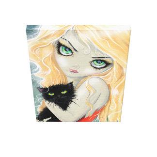 Big Eye Girl wtih Black Cat Wrapped Canvas Print