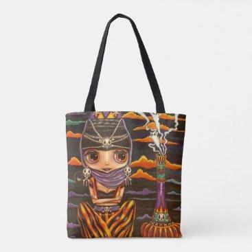 Halloween Themed Big Eye Gothic Genie Girl Kitty Ghosts Halloween Tote Bag
