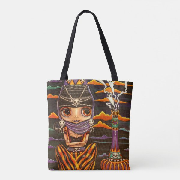 Big Eye Gothic Genie Girl Kitty Ghosts Halloween Tote Bag