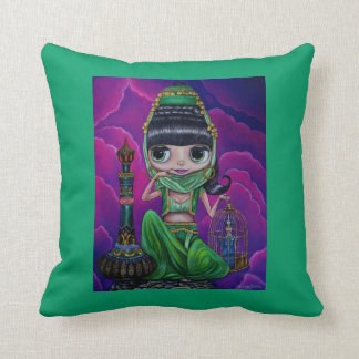 Big Eye Green Genie Girl and magic bottle Throw Pillow