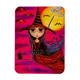 Big Eye Halloween Witch Girl in Stripes Black Cat Magnet