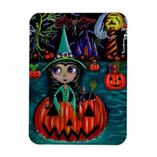 Big Eye Halloween Witch Girl Riding in a Pumpkin Magnet
