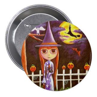 Big Eye Halloween Witch Pumpkins on Fence Owl 3 Inch Round Button