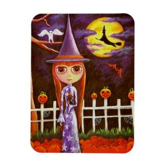Big Eye Halloween Witch Pumpkins on Fence Owl Magnet