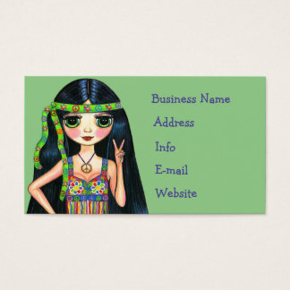 Big Eye Hippie Chick Flashing Peace Sign 1960s Business Card