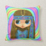 Big Eye Hippie Doll Girl in Blue Headband Throw Pillow
