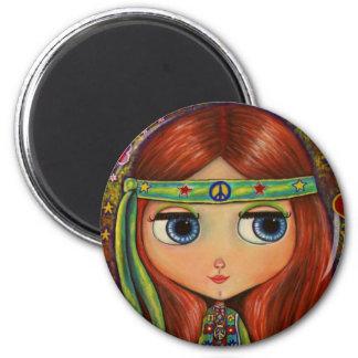 Big-Eye Hippie Doll Magnet