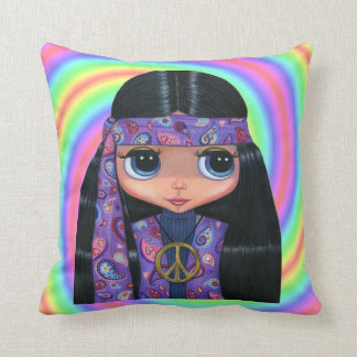 Big Eye Hippie Girl in Purple Paisley Throw Pillow
