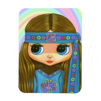 Big Eye Hippie Girl Peace Sign Flower Power '60s Magnet