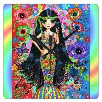 Big Eye Hippie Mermaid Girl Peace Sign 1960s '70s Clocks