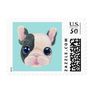 Big eye Lovely french bulldog Stamp