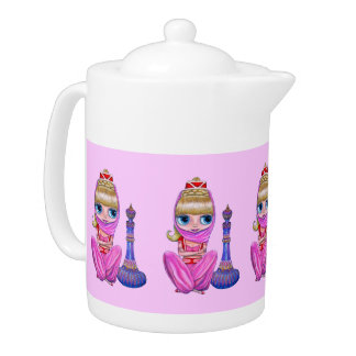Big Eye Pink Genie Belly Dancer Girls Teapot