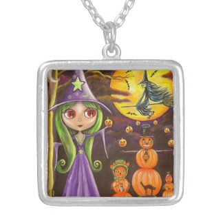 Big Eye Purple Halloween Witch Pumpkin People Square Pendant Necklace