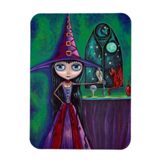 Big Eye Witch Girl with Falcon & Dragon Cute Magnet