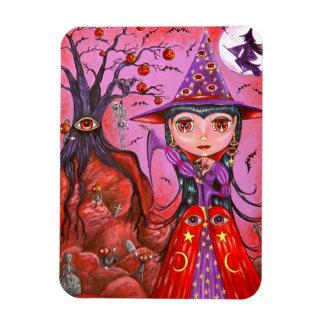 Big Eye Witch Pumpkin Hanging Tree Creepy! Magnet