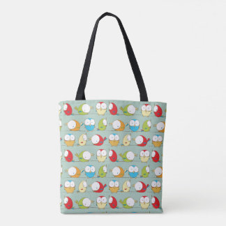 Big Eyed Birds on a Line Pattern Tote