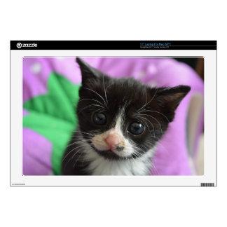 "Big-Eyed Black and White Kitten Skin For 17"" Laptop"