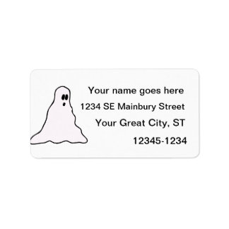 Big eyed blobby ghost graphic address label