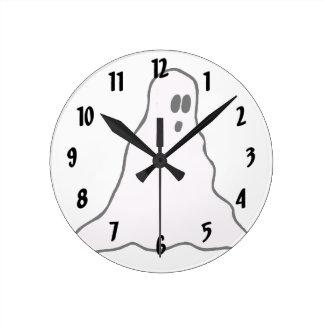 Big eyed blobby ghost graphic round wallclocks