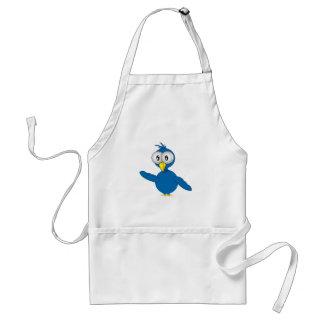 Big-Eyed Blue Cartoon Bird Apron