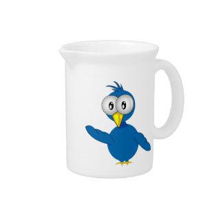 Big-Eyed Blue Cartoon Bird Beverage Pitchers