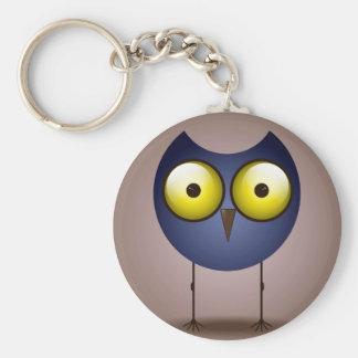 Big Eyed Blue Owl Button Keychain