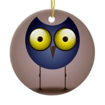 Big Eyed Blue Owl Ornament Round