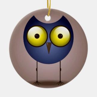 Big Eyed Blue Owl Ornament Round