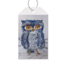 Big Eyed Blue Woot Owl Gift Tags