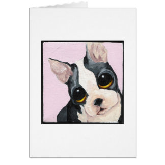 Big Eyed Boston Terrier Greeting Card
